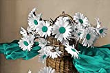 Daisy Basket - Brown Background with 9 Decor Colors - Flowers, Floral, Home Decor. Wall Art Canvas wrapped around a wooden frame, Family Room, Living Room. Bedroom) (Teal, 20x30)