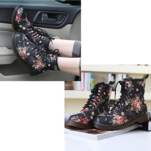 KINDOYO Womens Girls Floral Winter Ankle Boots Fashion Short Lace-Up Flat Shoes High Top Martin Trainers Sneakers, Black Black