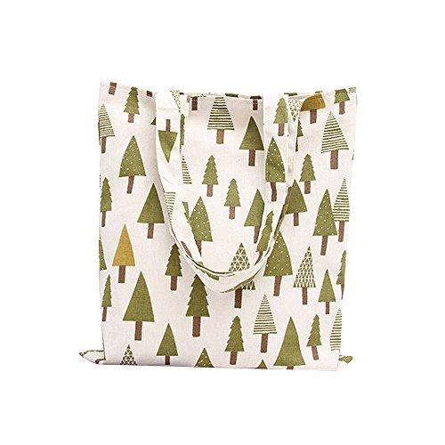 (Nuni Pine Fir Arbor Tree Print Cotton Canvas Tote Bag Beige (Zip Closure))
