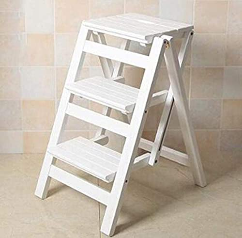 Folding Ladder Staircase Multi-Functional Folding Solid Wood Ladder Stool,Step Stool Household Muliti-Color Stool Step Ladder Foldable Stepladder,White,Three