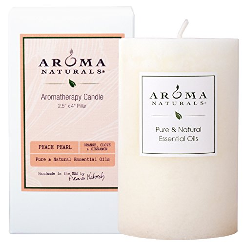 Aroma Naturals Essential Oil Orange, Clove and Cinnamon Scented Pillar Candle, Peace Pearl, 2.5 inch x 4 inch