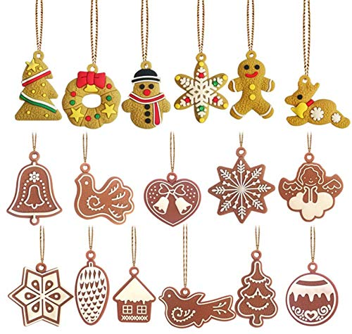 Astra Gourmet 17pcs Christmas Small Pendants Ornaments Gingerman Snowman Reindeer Crafts Figurines for Christmas Tree Decoration Necklace Bracelet Jewelry Making