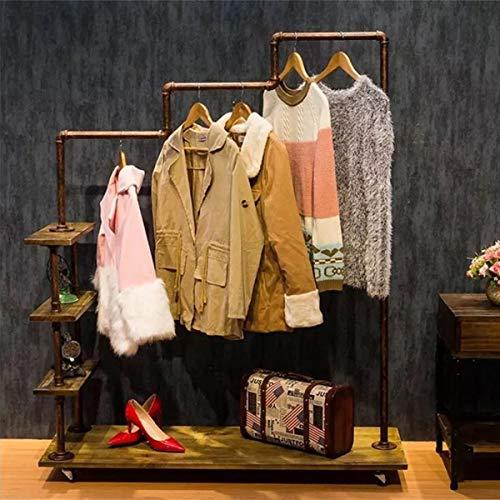 Warm Van Industrial Metal Pipe&Wood Rolling Clothing Rack,Free Standing Garment Racks,Vintage Closet Organizer Storage Shelf,Decor Pipeline Shelves 47.2''W x 60''H(Bronze)