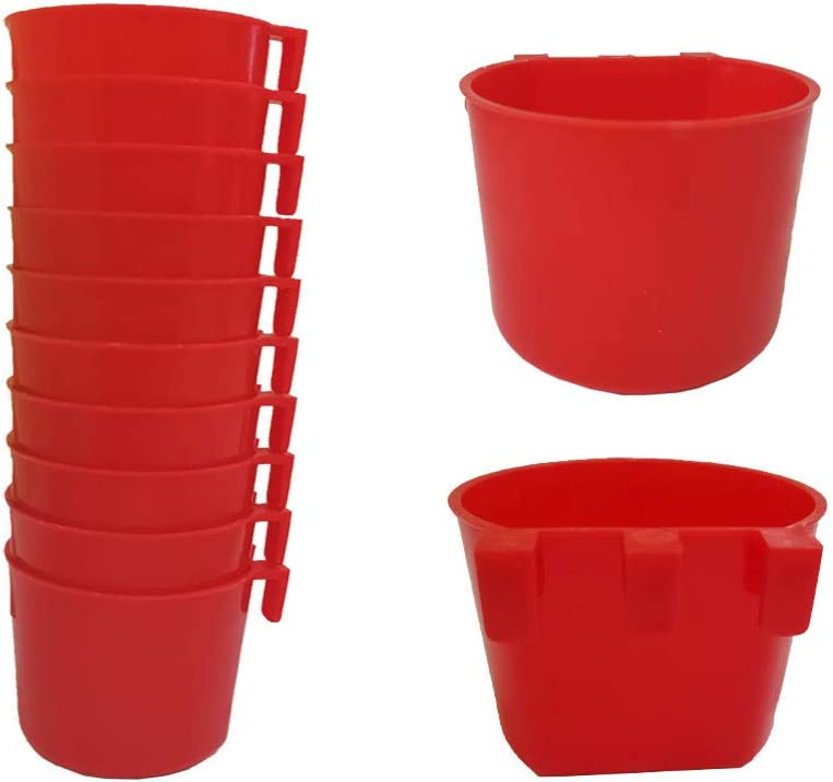 U/D 10pcs Feeder Cage Cups Hanging Chicken Water Cups Pet Bowl with Hooks Rabbit Food Dish for Cages Plastic Feeding & Watering Supplies for Pigeon Poultry Roosters Gamefowl Parakeet