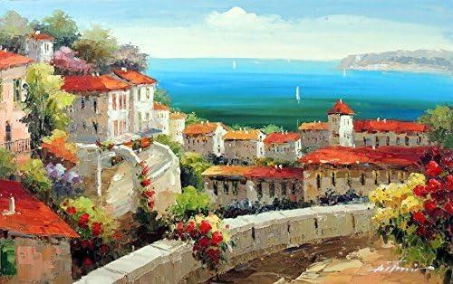 Italian Tuscan Art Mediterranean Painting Village Style Oil on Canvas  Wall Art Beautiful Decor