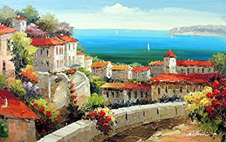 Mediterranean View #7-24x36 100/% Hand Painted Oil Painting on Canvas