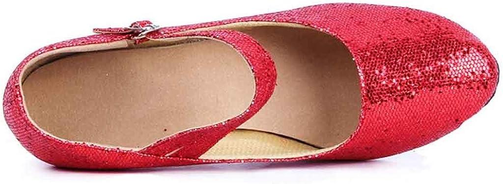Kinlene Chaussures pour Femmes avec des Chaussures De Danse Modernes, Chaussures De Danse à Fond Mou, Baotou, Paillettes, Chaussures De Danse Latine Rouge