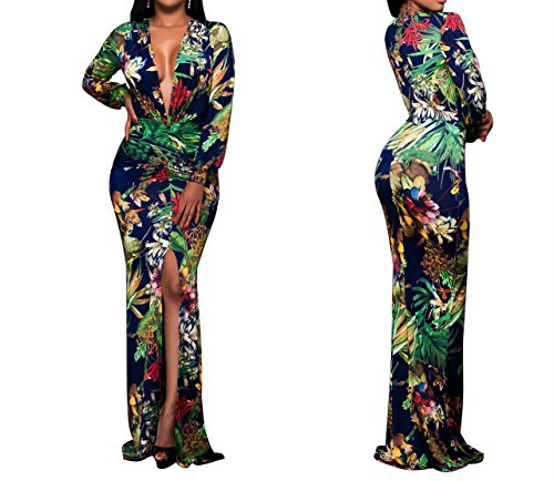 sexycherry Women Deep V Collar Long Sleeves Sexy Flower Print Maxi Stretch Bodycon Party Dress (XXX-Large, Flower)