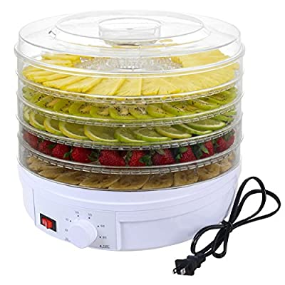 DPThouse Electric Food Dehydrator Fruit Vegetable Dryer Beef Snack Jerky Dehydro, 5 Stackable Trays