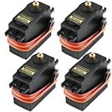 Seamuing 4Pcs MG995 Analog Servo Metal Gear Servo 20KG High Speed Torque Digital Servo Motor for Smart Car Robot Boat RC Helicopter(Control Angle 180)