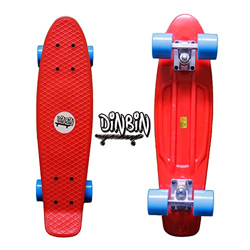 DINBIN Complete Highly Flexible Plastic Cruiser Board Mini 22 Inch Skateboards for Beginners or Professional with High Rebound PU Wheels (220 Pounds)