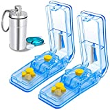 2-Pack Pill Cutter | Best Pill Cutter for Small Pills | Design in The USA | Pill Splitter with Keychain Pill | Cuts Pills, Vitamins, Tablets | Stainless Steel Blade | Travel Sized (Color: Skyblue, Tamaño: Pack of 2)