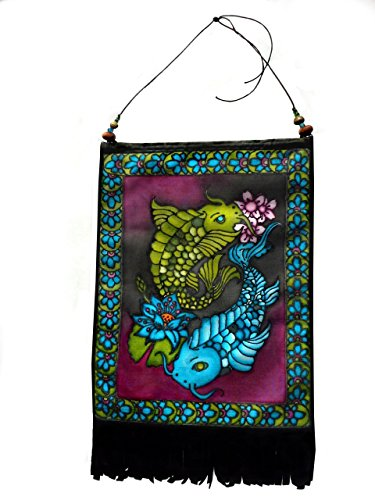 Handmade Wall Hanging Art Tapestry Decor with Beads and Black Suede Fringe 8x12 Koi Fish w/ Lotus Flower & Cherry Blossoms - Cherry Blossom Flower Bead