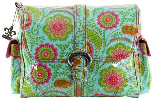Kalencom - Bolso cambiador, diseño plastificado con hebilla multicolor Lona - chocolate/rosa Flores silvestres - turquesa