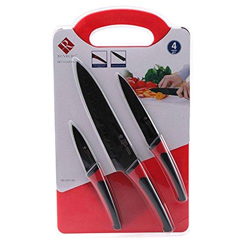Renberg Set de 3 Cuchillos y Tabla de Corte de Acero, Color Rojo y Negro