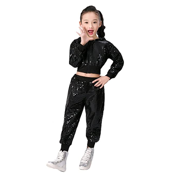 621f6092dc7a Amazon.com: Children Girls Sequins Hip hop Costume Street Dance Clothing Set:  Clothing