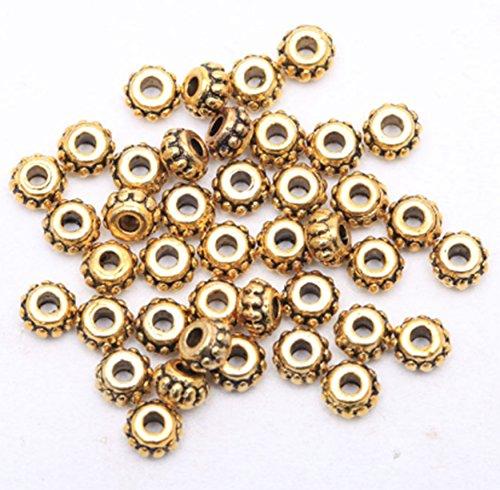 150pcs 5x3mm Tibetan Flower Metal Silver Bronze Gold Loose Spacer Beads Craft Jewelry Making Findings DIY (Gold) Metal Flower Spacers