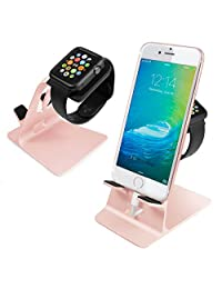 Orzly® - DuoStand Charge Station for Apple Watch & iPhone - Aluminium Desk Stand Cradle in ROSE GOLD with Built-In Insert Slots for both Grommet Wireless Charger and Lightning Cable for use as a fully functional Charging Station for both your Apple Watch & iPhone Simultaneously - Fits iPhone Models: 5 / 5S / 5C / 6 / 6 PLUS and both 42mm & 38mm sizes of 2015 Watch Models (Original BASIC Model / SPORT Version / and EDITION Models)