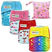 Asenappy All In One Cloth Diaper 4 Pack Reusable AIO Sewn Inserts with Pocket Overnight (Girl)