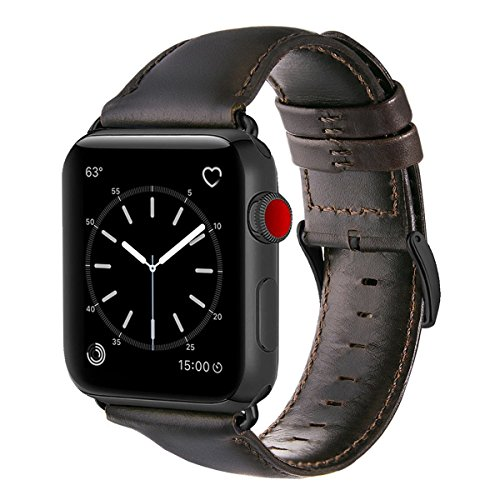 For Apple Watch Band 42mm, OUHENG Retro Vintage Genuine Leather iWatch Strap Replacement for Apple Watch Series 3 Series 2 Series 1 Sport and Edition, Brownish Black with Black Adapter by OUHENG