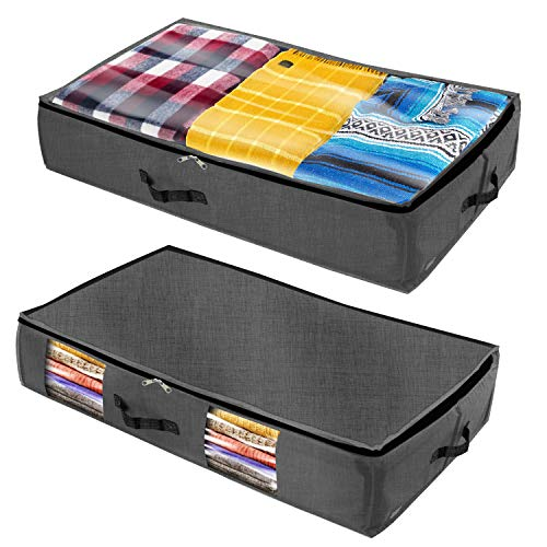 Homenery Under Bed Storage (2 Styles Pack) - Sturdy 4 sidewalls with Cardboard - 1 Clear Top & 1 Side Window - Wear & Water Resistant Plastic Fabric Underbed Storage Containers (Boxes Storage Under Sofa)