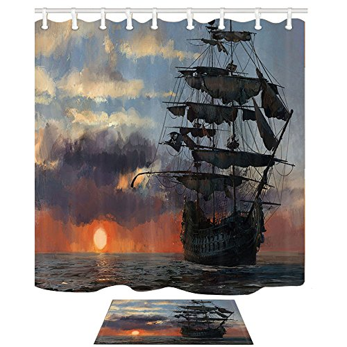 - NYMB Ocean Curtain, Old Pirate Ship in The Sea Historic Legend Cruise Voyage, 69X70in Shower Curtain Set with 15.7x23.6in Flannel Non-Slip Floor Doormat Bath Rugs