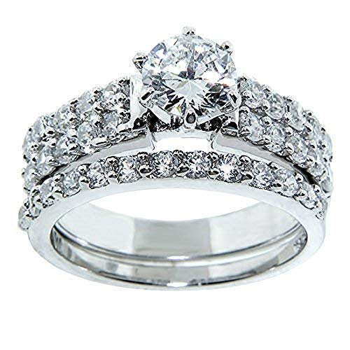 Nuni Jewelry Sterling Silver 925 Wedding Engagement Set Round Cut 31 Cz Stones 2.5 Ct Total (8) from Nuni Jewelry