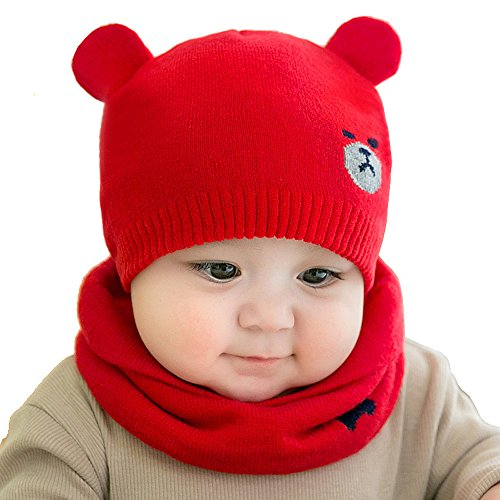 Warm Baby Boys Girls Hat Scarf Set Cute Knitted Cotton Hats(Red) - 2