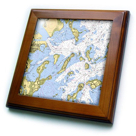 3dRose ft_204856_1 Print of Boston Harbor Nautical Chart Framed Tile, 8 by 8""
