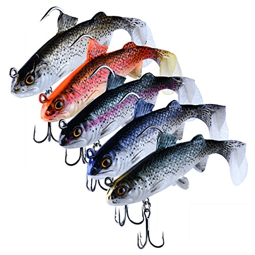 Goture Lead Jigs Soft Fishing Lures with Hook Sinking Swimbaits for Saltwater and Freshwater 5 Colors Available (Pack of 5) (Agiler Mixed Color for Big Size)