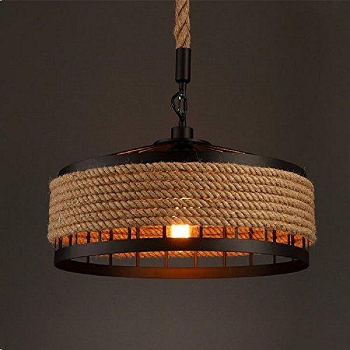 - Iron Hemp Rope Loft American Country Industrial Chandeliers Creative Personality Restaurant Lighting Bar Cafe Lighting (23.6 Inch)