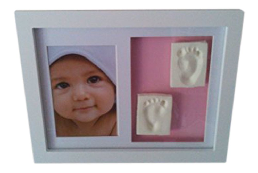 Baby Casting Kit Blue/Pink background & White Wall frame for handprint or footprint Keepsake BB Occasion Gifts 1