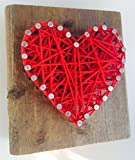 Wooden rustic red string art heart block - A unique Father's Day, Wedding, Anniversary, Valentine's Day, Christmas, House Warming, New Baby and just because gift.