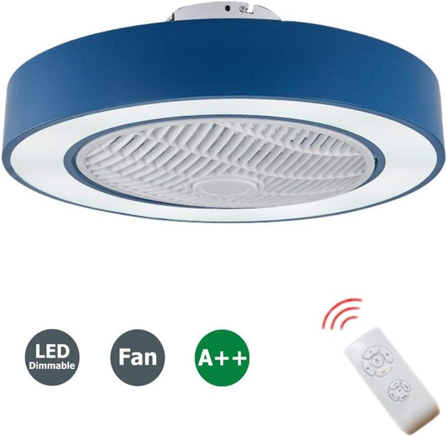 WJLL Ventilador de Techo con Lámpara Redondo LED Creativo con Control Remoto lámpara de Ventilador de Techo Regulable Interior decoración de Dormitorio Iluminación del Ventilador de Techo,Azul