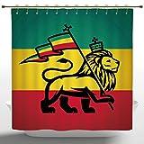 Rasta Shower Curtain   Elegant Shower Curtain By IPrint,Rasta,Judah Lion  With A