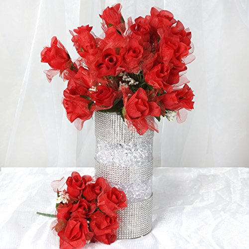 BalsaCircle 252 Red Organza Rose Buds - 36 bushes - Artificial Flowers Wedding Party Centerpieces Arrangements Bouquets