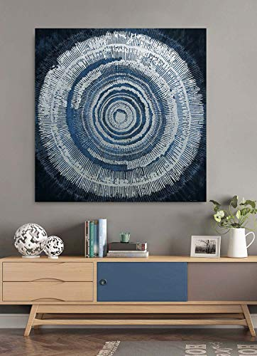 Fox Art Abstract Paintings Wall Art Global Geometric Illusion Navy Blue Canvas Prints with Silver Metallic Foil Hand Painted Canvas for Living Room Bedroom Stretched and Framed Ready to Hang 32x32Inch (Blue Abstract Navy Art)