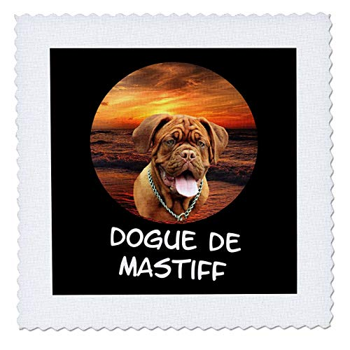 Bordeaux Comforter Set - 3dRose Sven Herkenrath Dogs - Dogue de Mastiff Dog with Sunset Circle Holiday - 22x22 inch Quilt Square (qs_306963_9)