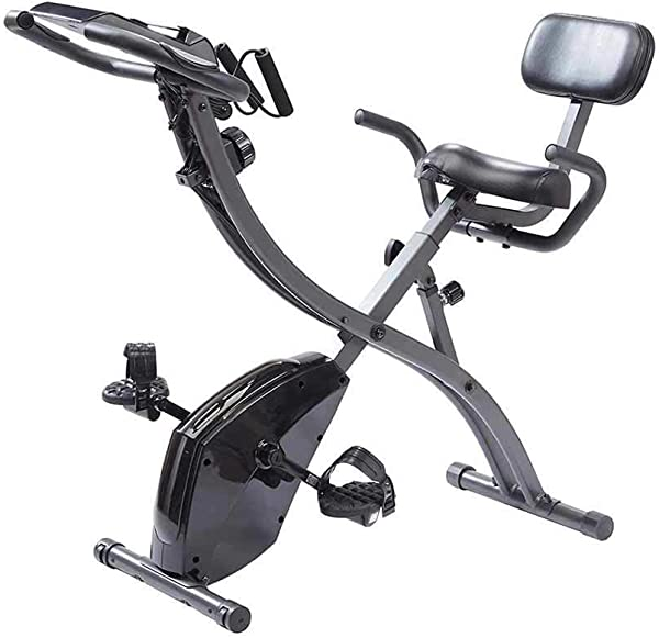 Original As Seen On TV Slim Cycle Stationary Bike - Folding Indoor Exercise Bike with Arm Resistance Bands and Heart Monitor