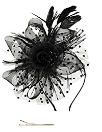 Zivyes Fascinators Hat for Women Tea Party Headband Kentucky Derby Wedding Cocktail Flower Mesh Feathers Hair Clip