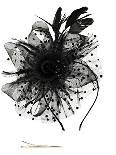 Fascinators Hat for Women Tea Party Headband Kentucky Derby Wedding Cocktail Flower Mesh Feathers Hair Clip (1-Black)]()