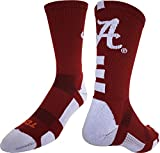 Alabama Crimson Tide Baseline Crew Socks (Crimson/White, Small)