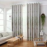 Meisijia Los árboles de los pájaros imprimieron el panel cortina de la gota del apagón de la cortina para el dormitorio de la ventana de la puerta hilo con gancho