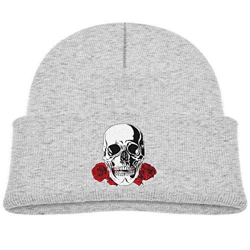 Laki-co Flower Skull Kid Knitted Beanies Hat Boys Girls Winter Hat Knitted Skull Cap Gray