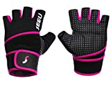 SEEU Women's Training Gym Gloves with 17.5' Wrist Wrap, Hot Pink S