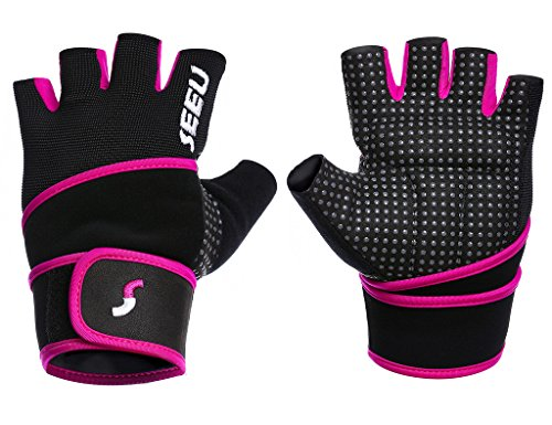 "SEEU Women's Workout Gloves with 17.5"" Wrist Wrap, Hot Pink XS"