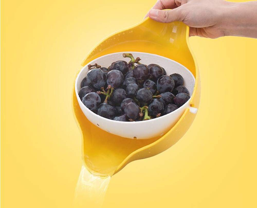 CheeChee Eutuxia 2-in-1 Multifunction Kitchen Colander/Strainer and Bowl Set, Double Layered Rotatable Drain Basin and Basket, For Cleaning, Washing, Mixing Fruits and Vegetables fruit bowl