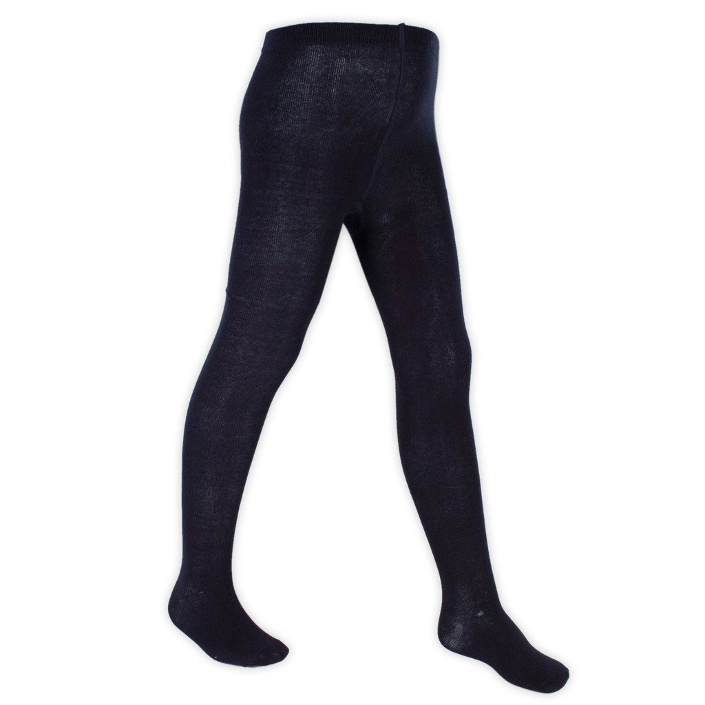 Girls Warm Knitted Soft Cotton Rich School Uniform Tights Pack of 3. Black - Navy - Grey - White. 3 to 13 Years Old