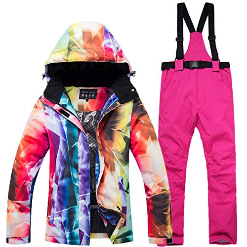 2e230d91c08 Women Two Piece Colorful Sport Outdoor Mountain Windproof Waterproof Ski  Bib Suit Jacket and Bib Pant Suits Outfit M