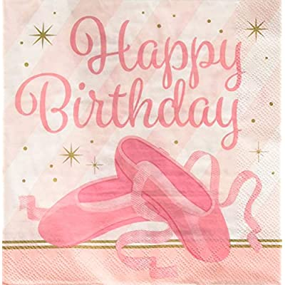 Creative Converting 322218 Twinkle Toes Ballerina Happy Birthday Paper Party Lunch Napkins, 6.5